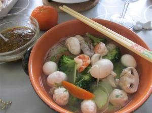 5a. Steamboat_bowl of soup + chilli sauce