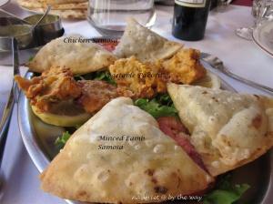 12a. Salon-de-Provence_Starter_Veg Pakora, lamb & chix samosas