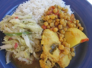 Baba's chicken curry with chickpeas served with stir fried chinese cabbage and steamed basmati rice