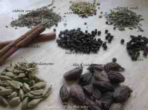 Spices for garam masala. These were dry roasted and blended into powder form. The ground garam masala can be kept for months in an airtight jar