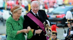 The outgoing Queen Paola and King Albert II of Belgum