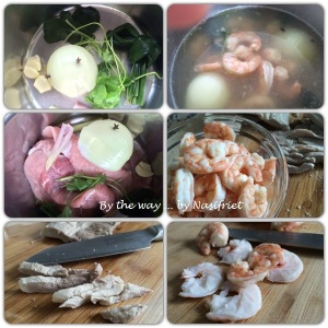 6. Vietnamese Summer Roll_prepping the pork + prawns