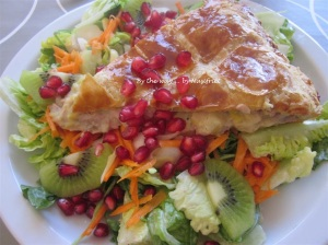 8. Chicken & Leek Pie_salad + promegranate